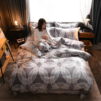 2018A5D雕花绒B水晶绒四件套 1.5m床四件套 尼斯特