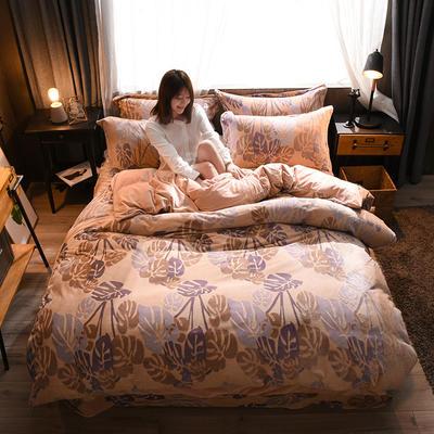 2018A5D雕花绒B水晶绒四件套 1.2m床三件套 疏影