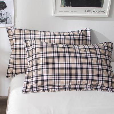 2018新款全棉印花枕套一对 48cmX74cm 格子先生