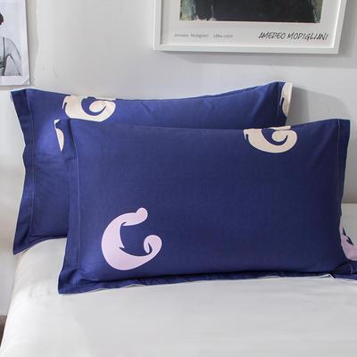 2018新款全棉印花枕套一对 48cmX74cm 蓝调