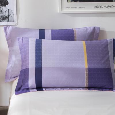 2018新款全棉印花枕套一对 48cmX74cm 优格 紫