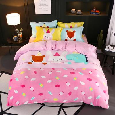 2018新款大阪法莱绒四件套 标准1.5m-1.8m床 甜蜜色彩