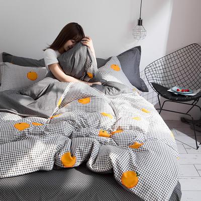 2019新品全棉13070喷气四件套 1.2m(4英尺)床三件套 格子橙
