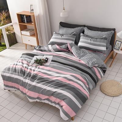 2019新品12868全棉印花四件套 1.2m(4英尺)床 浪漫时光 粉