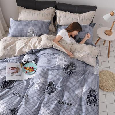 2019新品12868全棉印花四件套 1.2m(4英尺)床 连理枝 灰