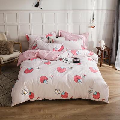 2019新款全棉12868四件套 1.5m-1.8m床单款四件套 草莓季节 粉