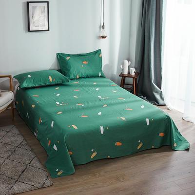 2019新款全棉12868单床单 160X230 胡萝卜 绿