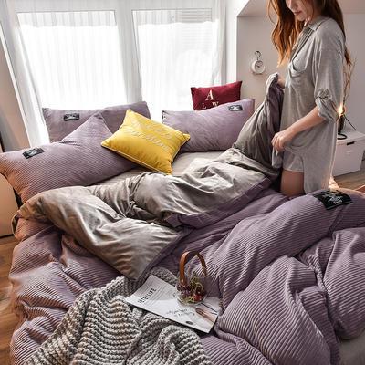 2019新款宝宝立体绒四件套 2.0m床单款 条纹 紫