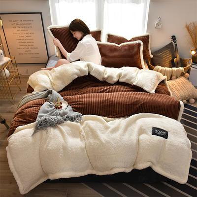 2019新款魔法绒羊羔绒双拼四件套 1.5m-1.8m床单款 咖色