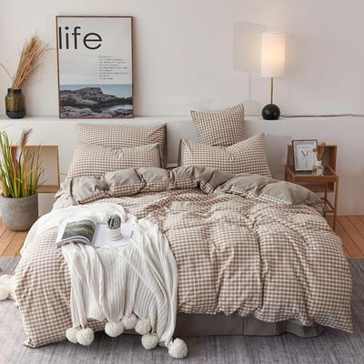 2019新款全棉水洗棉四件套 1.2m床单款三件套 咖啡小格