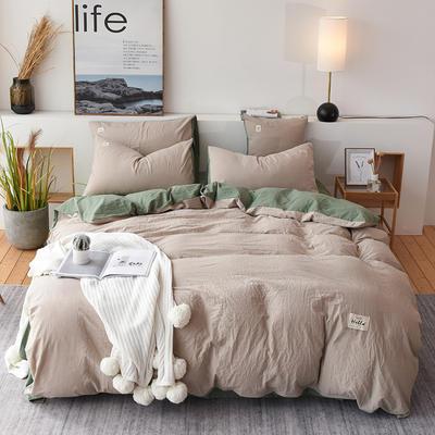 2019新款全棉水洗棉四件套 1.2m床单款三件套 卡其绿