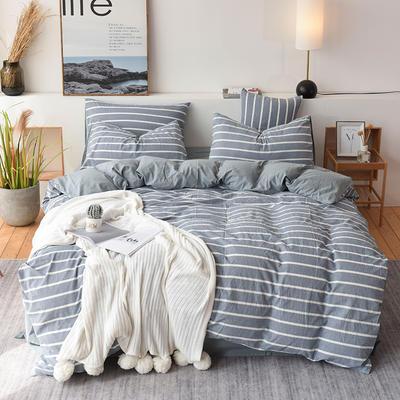 2019新款全棉水洗棉四件套 1.2m床单款三件套 蓝白条
