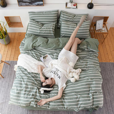 2019新款全棉水洗棉四件套 1.2m床单款三件套 绿白条