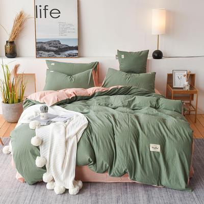 2019新款全棉水洗棉四件套 1.2m床单款三件套 绿粉