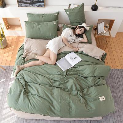 2019新款全棉水洗棉四件套 1.2m床单款三件套 绿卡其