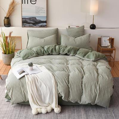 2019新款全棉水洗棉四件套 1.2m床单款三件套 绿小格