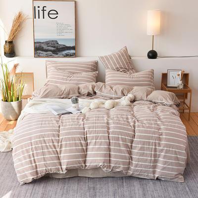 2019新款全棉水洗棉四件套 1.2m床单款三件套 米白条