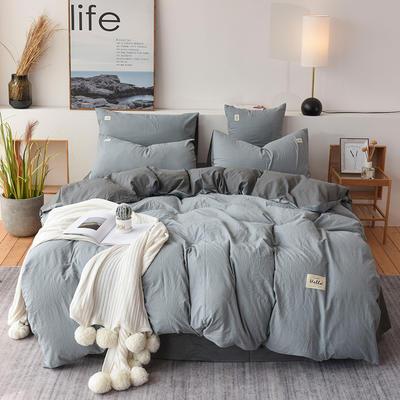 2019新款全棉水洗棉四件套 1.2m床单款三件套 浅蓝深灰
