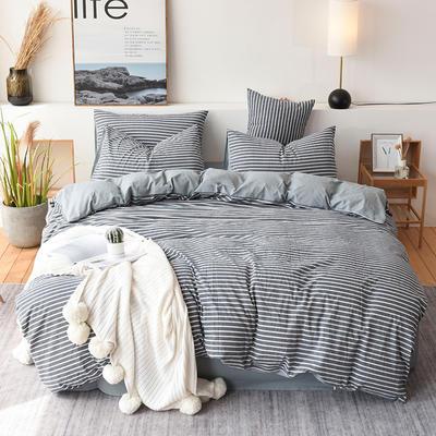 2019新款全棉水洗棉四件套 1.2m床单款三件套 深蓝细条