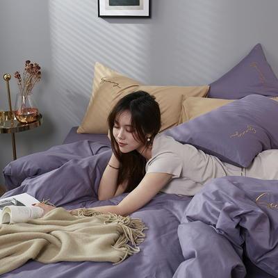 2020新款全棉133X72纯色刺绣四件套 1.2m床单款三件套 帝王紫