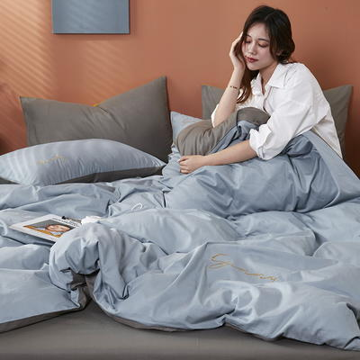 2020新款全棉133X72纯色刺绣四件套 1.2m床单款三件套 海青+高级灰