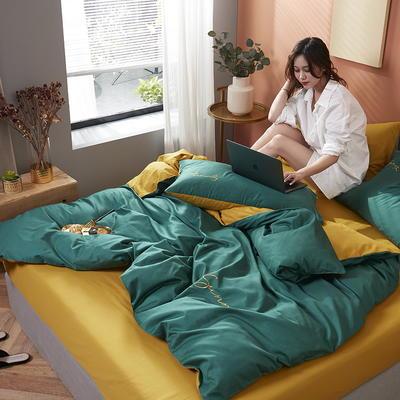 2020新款全棉133X72纯色刺绣四件套 1.2m床单款三件套 孔雀绿+姜黄