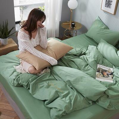 2020新款全棉133X72纯色刺绣四件套 1.2m床单款三件套 抹茶绿