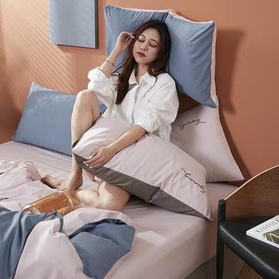 2020新款全棉133X72纯色刺绣四件套 1.2m床单款三件套 海青+奶油粉