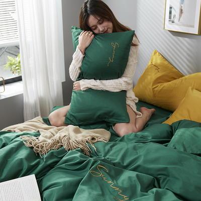 2020新款全棉133X72纯色刺绣四件套 1.2m床单款三件套 孔雀绿