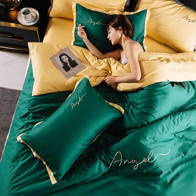 2020新款水洗真丝 天使宽边绣花四件套 1.5m床单款 天使 墨绿