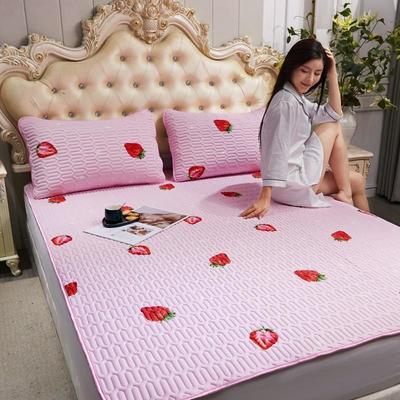 2020新款乳胶床护垫凉席 90X200 草莓—粉