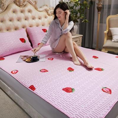 2020新款乳胶床护凉席 120X200床 草莓—粉