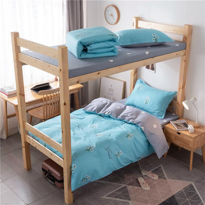 2020新款全棉学生宿舍三件套 1.2m床单款三件套(床单150X230) 花香清新 蓝