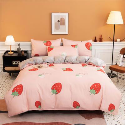 2020新款棉加绒AB款印花系列--四件套 被套180X220床单款四件套 甜心草莓