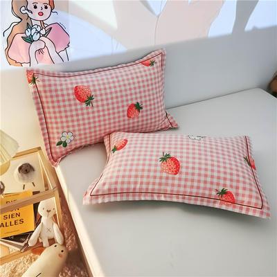 2020新款全棉加厚133X72系列(单枕套) 48*74cm/对 草莓格