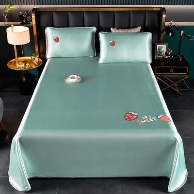 2021新款冰丝凉席刺绣床单款 245X250cm三件套 草莓 果绿