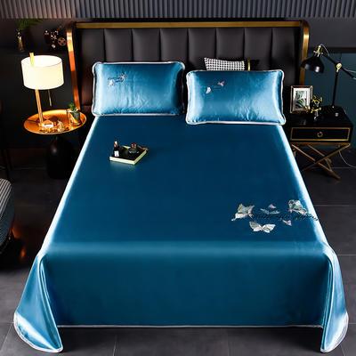2021新款冰丝凉席刺绣床单款 245X250cm三件套 蝴蝶 宾利兰