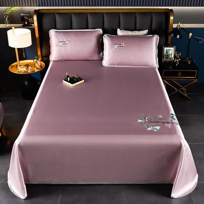 2021新款冰丝凉席刺绣床单款 245X250cm三件套 蝴蝶 豆沙