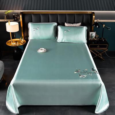 2021新款冰丝凉席刺绣床单款 245X250cm三件套 蝴蝶 果绿