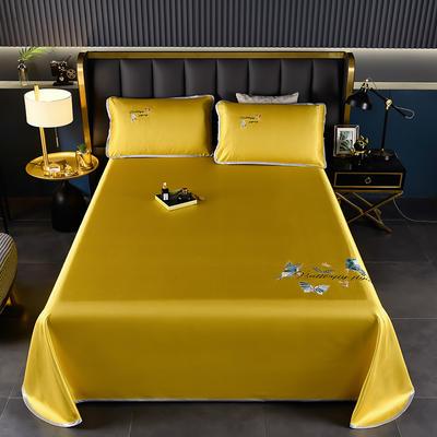 2021新款冰丝凉席刺绣床单款 245X250cm三件套 蝴蝶 姜黄
