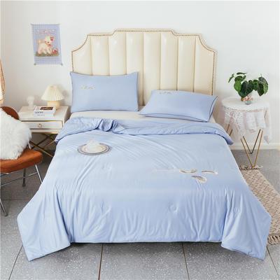 2021新款针织棉刺绣卡通夏被三件套 180x220cm单夏被 羽毛-浅蓝