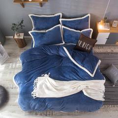 尚客家纺-贝贝绒秋冬加厚法莱绒羊羔绒包边韩版保暖素色套件 标准(1.5m-1.8m床)加边 宝玉蓝