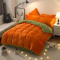 法莱绒四件套 法兰绒四件套 1.2m(4英尺)床(三件套) 橙色果绿