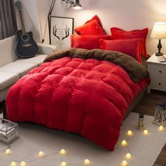 法莱绒四件套 法兰绒四件套 1.2m(4英尺)床(三件套) 大红深咖