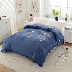 水洗棉冬被-韩版水洗棉毛巾绣羽丝绒冬被 标准(1.5m-1.8m床) 藏青