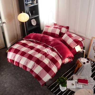 水晶绒四件套 小号(1.35m床及以下) 大格红