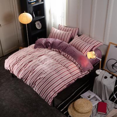 水晶绒四件套 小号(1.35m床及以下) 条纹粉咖