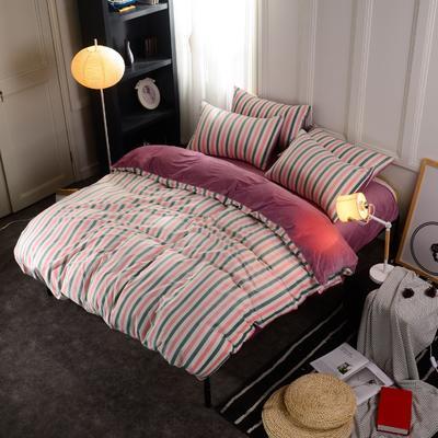 水晶绒四件套 小号(1.35m床及以下) 条纹粉绿