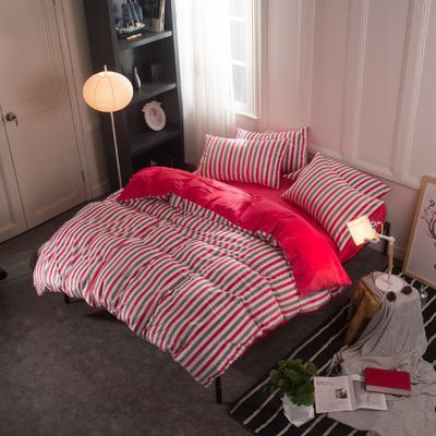 水晶绒四件套 小号(1.35m床及以下) 条纹红