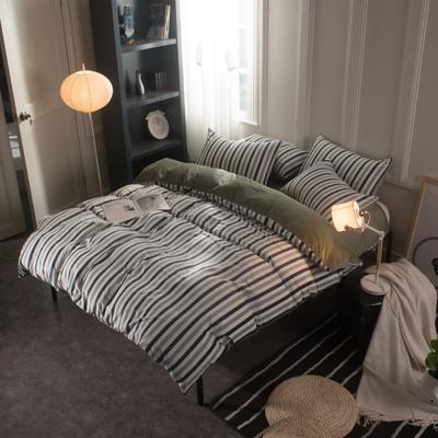 水晶绒四件套 小号(1.35m床及以下) 条纹绿